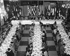 black and white photo of banquet hall